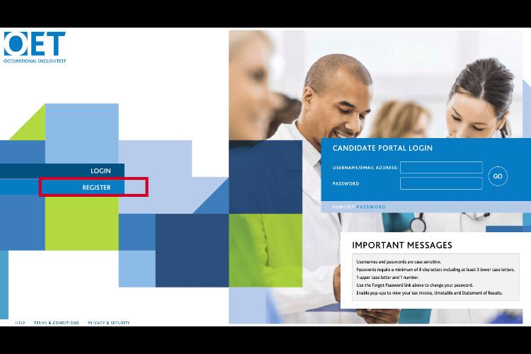 OET申し込み専用のポータルサイト スクリーンショット