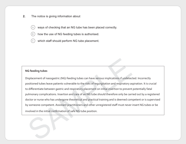 OETリーディング「パートB」の対策方法サンプル問題2